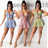 뜨거운 판매 여성의 여름 격자 무늬 두 조각 세트 슬링 탑 주름 짧은 치마 새 해변 섹시한 맞춤형 격자 무늬 주름진 치마 양복