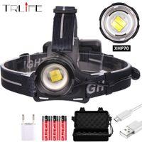 Zoomable XHP70 LED Headlamp XHP70.2 Headlight Super Bright Light 3 Mode Torch 18650 USB Charging Head Lampe à cyclisme