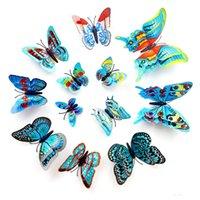 Wall Stickers 3D Butterfly Three-dimensional Simulation Butterflies Refrigerator Fridge Magnets Sticker Decoration 12pcs bag ZC200