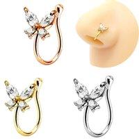 2021 Brilhante Cristal Borboleta Falso Piercing Nariz Anéis Punk Creative Creative Clip Clip O Nariz Anel Anel Ear Clipe Nariz Cuff Body Jóias