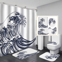 Shower Curtains Design Waves Curtain Fashion Bathroom Frabic Waterprood Polyester Bath Cool Textiles With Hooks Drop Ship