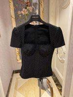 2021 الصيف تصميم المرأة الرجعية الفرنسية نمط قصيرة الأكمام طوق أنبوب أعلى تي شيرت البولكا المنقطة طباعة المحملات xssml