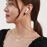 Chains Wholesale Airpods Anti Lost Dropping Love Round Pendant Necklace For Gold Color Chain Jewelry Accessories Gift