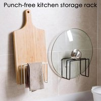 Hooks & Rails Wall-mounted Iron Chopping Board Rack Kitchen Double-grid Cutting Drain Storage Punch-free Pot Cover Holder