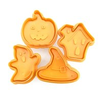 4pcs Bakeware Tools Halloween Biscuit mould Pumpkin Ghost Theme Plastic Cookie Cutter Plunger Fondant Sugarcraft Chocolate Mold T2I52769