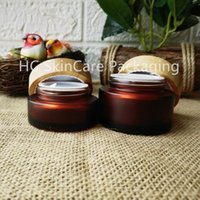 Storage Bottles & Jars Wholesale Beauty Amber Glass Face Cream Bamboo Lid Skin Care Packaging Eye Body Container For Cosmetics