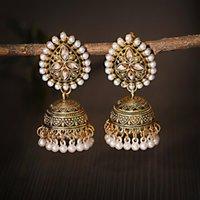Vintage Golden Pearl Tassel Bollywood Alloy Turkey Style Earrings For Women Ethnic Pearls Tassel Jhumka Earrings