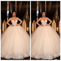 2021 Ball Gown Lace Wedding Dress Appliqued Sweetheart Neck Exposed Boning Corset Up Back Plus Size Bridal Gowns Dubai Lady Marriage Dresses