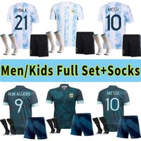 Argentina Jersey 2021 2022 Kun Aguero Lo Celso Martinez TagliaFico 20 21 Messi Dybala Adulto Homens Crianças Kit Football Camisa Set Uniformes Socks Calças Calções