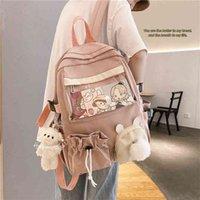 Rose Femelle Sac à dos 3D Cartoon Bunny Anime Sac à école Kawaii Teenage College Filles Solide Cordon Bookbag Corée 210830