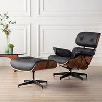 Salon meubles de salon Chaise Chaise Chaise avec bois de Palisander Noir Ottoman Jeu de cuir véritable