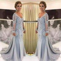 Élégante bleue argent mère de la mariée robes à manches longues 2021 V cou godmother robe de soirée fête de mariage robe invité neuf