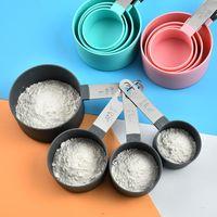 Küchenbacken Messwerkzeuge Edelstahl Griff Messen Tassen Set Feste Farbe Rundkreis bequem Zählung Löffel T9i001251