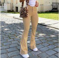 Kadın Yüksek Bel Flared Pantolon Haki Siyah Kahverengi Pantolon Kadın Kot Pantolon