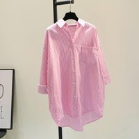 Casual Dresses Women's Shirts Dress 2021 Spring Summer Long Sleeve Stripes Fashion Shirt Blouse Mid-Long Before Short After Robe