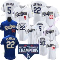 Доджерс 2021 Золотая программа Джерси 50 Mookie Betts 35 Cody Bellinger 5 Corey Seager 22 Clayton Kershaw 7 Julio Blue White Player Fans Размер S-3XL