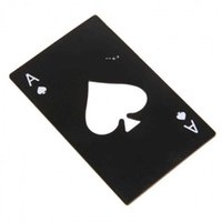Stainless Steel Bottle Opener,Bar Cooking Poker Playing Card of Spades Tools,Mini Wallet Credit Card Openers HHE10370