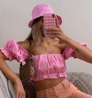 Women's Blouses & Shirts Women Sexy Ruffles Puff Sleeve Shirt Tops Summer Ruched Slim Crop Top Off Shoulder Backless High Streetwear Solid B