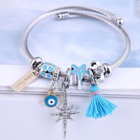 Bangle Cuff Bangles For Women Tassel Letter Eye Stainless Steel Bracelet Femme Fashion Silver Color Charms Jewelry Pulseras Mujer 2021