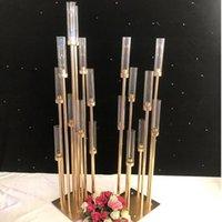 8/10 Kafalar Metal Şamdan Mumluklar Akrilik Düğün Masa Centerpieces Çiçek Standı Mumluk Şamdan JJA231