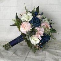 해군 결혼식 꽃다발 홍당무 신부 꽃다발 장미 모란 결혼식 꽃 웨딩 액세서리 신부 들러리 꽃다발 파티 장식