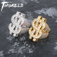 TOPGRILLZ Fashion Rock Iced Out Bling Gold Silver Color US Dollar Sign Rings AAA Cubic Zircon Hip Hop Ring Men Jewelry
