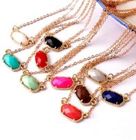 Hot Inspired Kendra Spring Style Abalone Shell Faceted Resin Oval Stone Choker Collar Statement Necklace for Women wjl4030