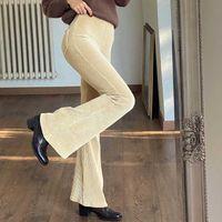 Rockmore Elegante Flare Hosen Frauen Breite Beinhosen Streetwear Cordouy Hohe Taille Hose Koreanisch Plus Größe Harajuku Bottom 210707