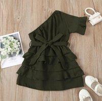 Girl's Dress summer off shoulder solid bow belt tiered dresses toddler kids baby clothes