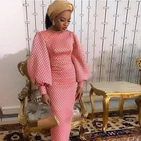 African Women Maxi Pink Party Dress Velvet Long Lantern Sleeve Printed Ladies Formal Dresses Prom Date Night Birthday Clothes Casual