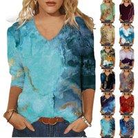 S-2XL T-shirt da donna Primavera stampata a mezza lunghezza 3/4 maniche con scollo a V casual tee Tops Plus Size T-Shirt Top femminili Top Donna Abbigliamento Y0606