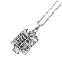 Fishhook Tibetano Plateado Torá Judío Scroll 10 Mandamientos Amuleto Collar Supernatural Joyería étnica para hombre Mujer Gift10 605 Q2