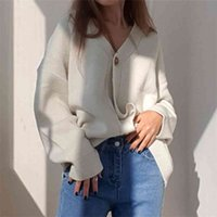 Colorfaith Winter Spring Women's Sweaters V-Neck Buttons Cardigans Oversized Fashionable Korean Lady Knitwears SWC18190 210918