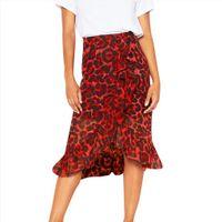 Leopard impressão vintage moda solta mulheres saias alta cintura plissada festa de verão casual jupe femme