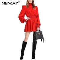 Robes décontractées Menkay Noir Robe Pour Femmes Stand Collier Lanterne Sleeve Tunique haute Tunique Mini Femme Mode Vêtements