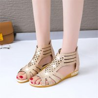 Sandals Lapolaka Cover Heel Low Zip Solid Crystal Fashion Casual Summer Bling Walk Comfortable Woman Shoes Flat