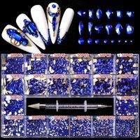 Nail Art Süslemeleri 21 Izgaralar / Kutu Çok Şekli Düz Geri Parlak Cam Kristal Mavi Rhinestone DIY Craft 3D Dekorasyon