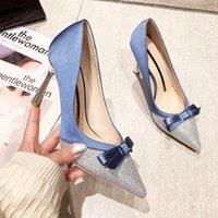 Dress Shoes Ladies High Heels Bow Sequins Women's Pumps Elegant Pointed Heel Gold-Plated Evening For Wedding