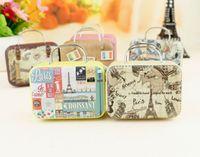 Boîte à bonbons de la valise rétro Sweet Love Wedding Party Gift Bijoux Boîtes De Plaque Tin Mix 6 Style ZHL5372