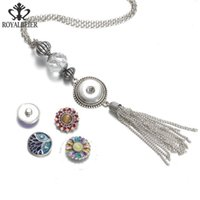 Pendant Necklaces Tassel Snap Necklace Button Jewelry 20mm Fit 18mm For Women DZ1728