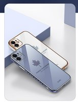 Luxury Square Plating Phone Cases For iPhone 13 Pro Max 12 11 Mini Xs Xr X SE 7 8 Plus 6s 6 Maple Leaf Soft TPU Cover