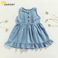 Girl's Dresses Ma&Baby 1-6Y Cute Kid Baby Girls Dress Ruffles Denim For Summer Children Clothes Costumes DD43