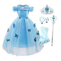 Çocuklar Prenses Giydir Kelebekler Kız Kostüm Külkedisi Karnaval Kıyafetler Doğum Günü Giysileri Çocuk Parti Fantezi Kılık 210329