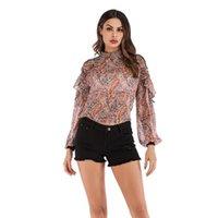 Women's Blouses & Shirts W 2021 Autumn Printed Lantern Sleeve Long Chiffon Ruffle Pullover Blouse Fashion Tops Womens