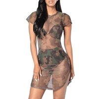 크기 캐주얼 드레스 섹시한 드레스 위장 인쇄 라운드 넥 메쉬 플러스 여름 여성의 패션을 통해보기