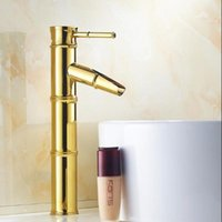 Bathroom Sink Faucets Gold Faucet Pure Copper European Style Plating Bamboo Festival Art Basin And Cold Water