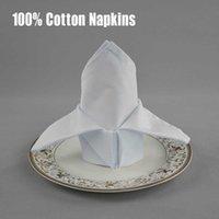 10 unids / lote rojo / blanco 100% algodón 33 * 33 cm Paño plegable cuadrado para el restaurante occidental Mesa de comedor Tabla de comedor gruesa TEXTIL TEXTILE SH190925