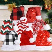Christmas Cosplay Caps Weihnachten Santa Claus Hüte Plaid Gestreifte Schneeflocke Pailletten Rot Weiße Mütze Plüsch Party Hut Kostüm Dekoration HWB9129