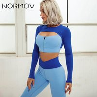 Yoga Outfit NOOV 2 PCS Long Sleeve Patchwork GYM Sets Set Piece Suit Leggings Shorts Push Up Bra Stretchy Color