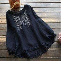 ZANZEA Kaftan Embroidery Tops Autumn Women Shirt Casual Long Sleeve O Neck Ruffle Top Plus Size Tunic